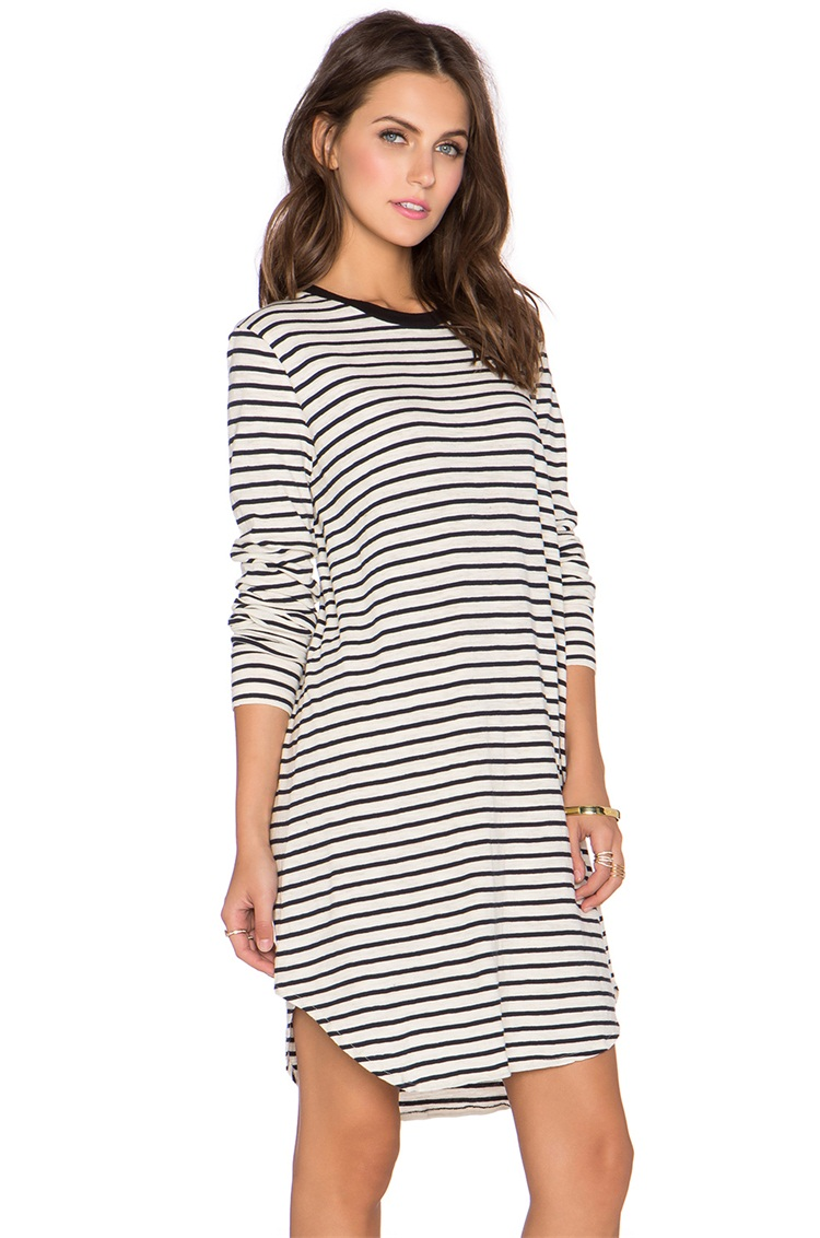 2015 womens casual striped tshirt dress autumn long sleeve Women s long sleeve shirt dress