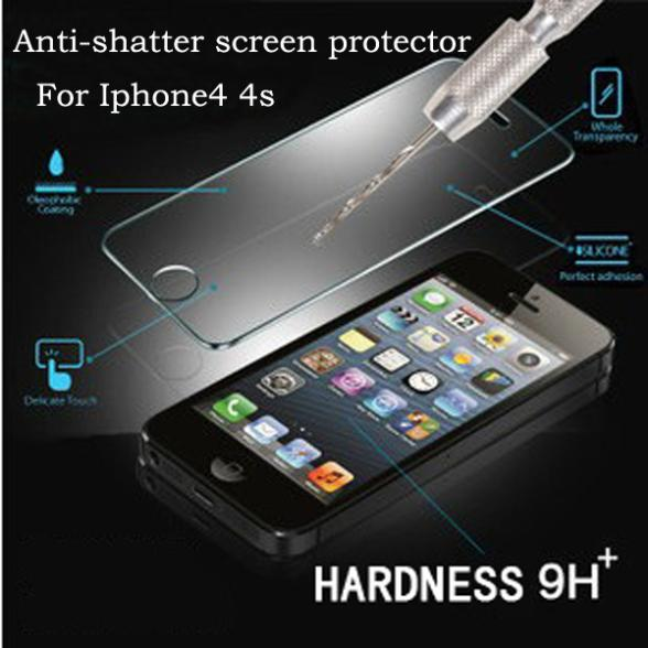 Sale! 0.3mm 2.5D 9H Anti Shatter tempered glass Film iPhone 4G 4S Cell phone Explosion-Proof Screen Protector Lcd Films - QCC TOP.1 store