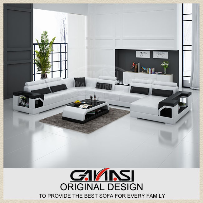 Modern sofa set living room furniture black leather for Sofas modernos en l