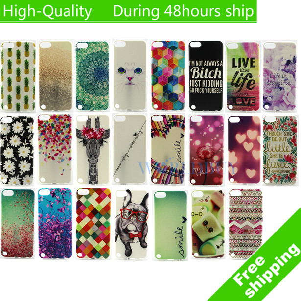 For iPod Touch 5 5G 5th Silicone Rubber Protective Skin Soft Gel TPU IMD Back Cover Case Free Shipping(China (Mainland))
