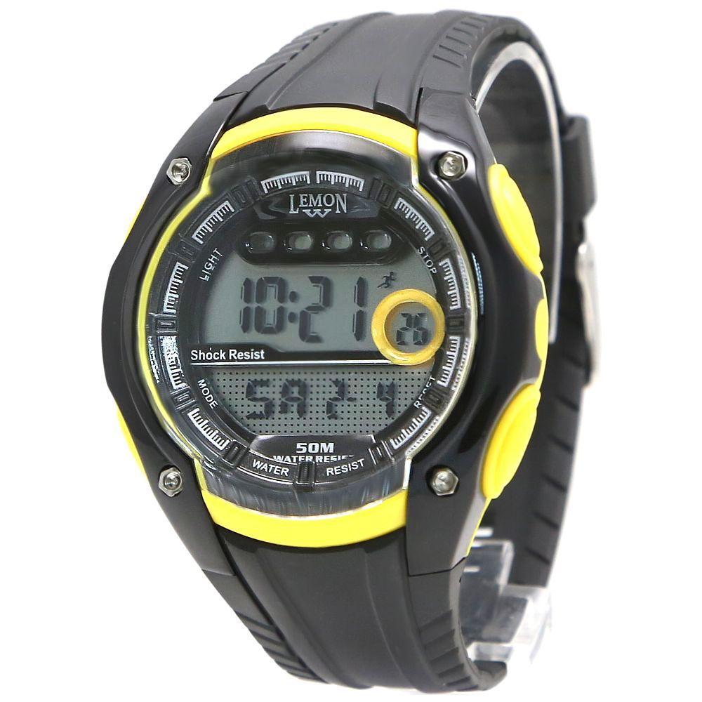 Chronograph Date BackLight Water Resist Ladies Women Yellow Digital Watch DW441C(China (Mainland))