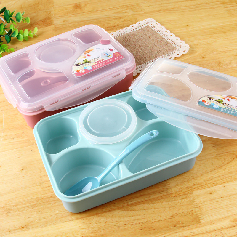Microwave lunch box lunch packages Plastic Quad Five plus one sub-grid lunch boxes new business meal 2 Colors(pink and blue)(China (Mainland))