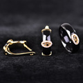 Simple Black Ceramic Earrings Rings Set 18K Gold Plated Princess Hooks Stud Earrings Full Zircon Rhinestone