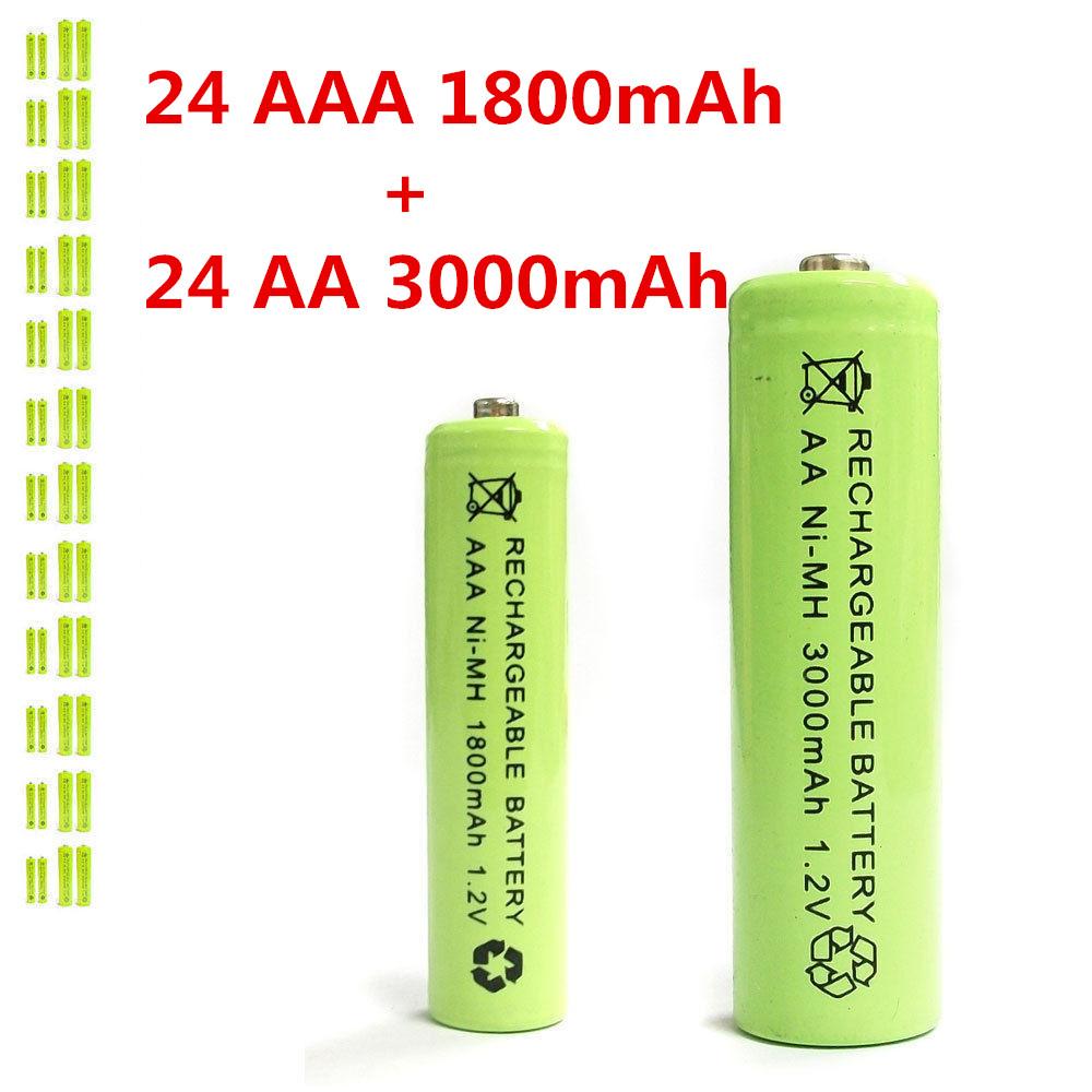 24 AAA 24 AA 1800mAh 3000mAh Ni-MH rechargeable battery Solar Light MP3 RC Green(China (Mainland))