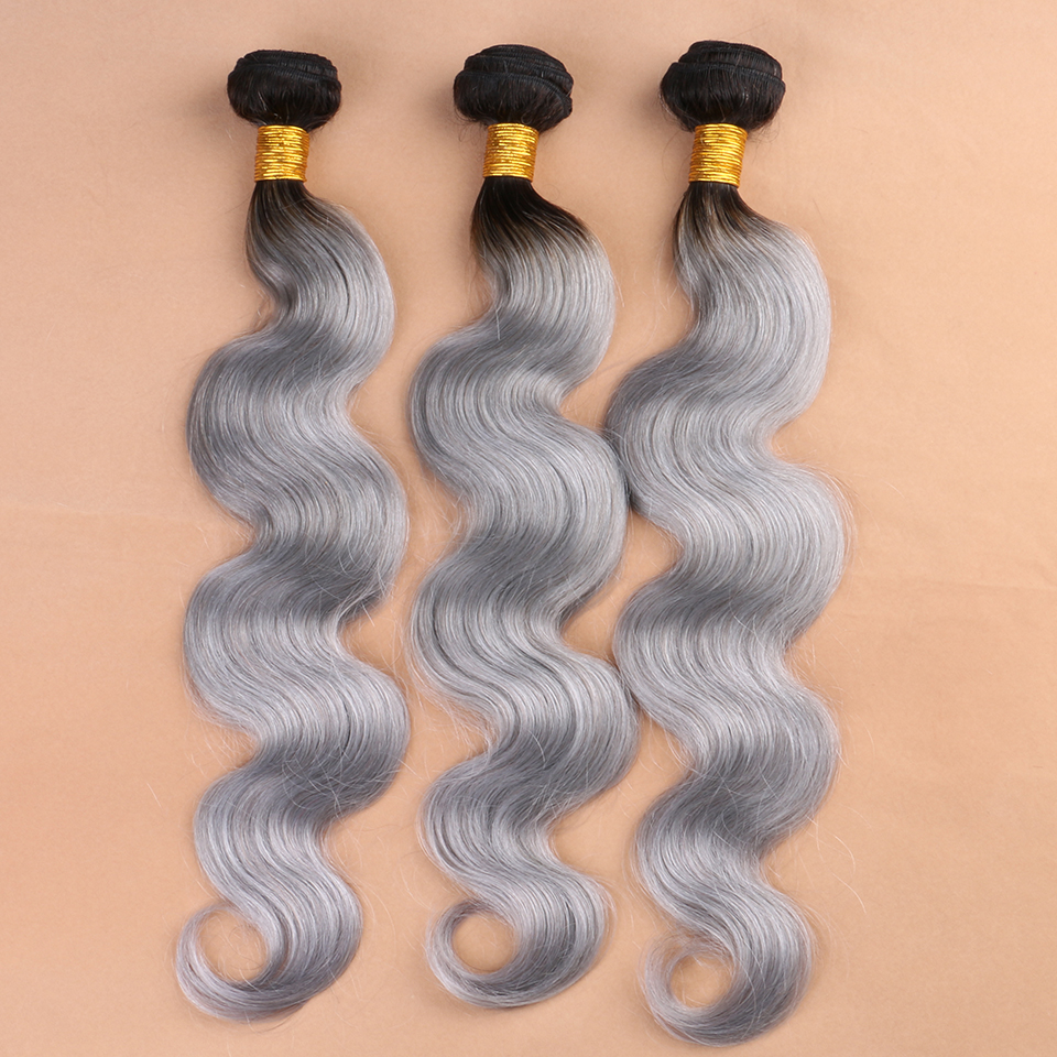 7A Grade Ombre Hair Extensions 1B Silver Grey Hair Weave Ombre Brazilian Hair Virgin Human Colored Hair DHL Free Shipping(China (Mainland))