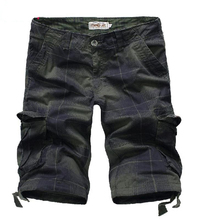 2016 Men Plaid Multi Pockets Summer Casual Loose Shorts Male Clothing Trousers Hknee Length Zipper Button Chequer