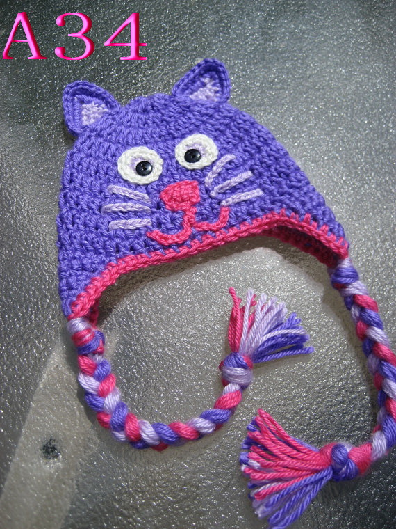 Free shipping Crocheted Baby Hat Hand made Purple Kitten Earflap cap Beanie Hat baby Photo Prop(China (Mainland))