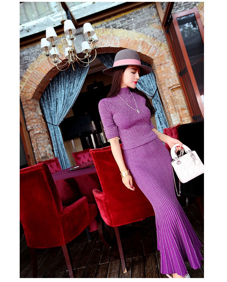 2016 Striped Long Fishtail dress And Top Set New Spring Sexy Women Sweater Knitted Woman Suit Elegant Women 2 Piece Set
