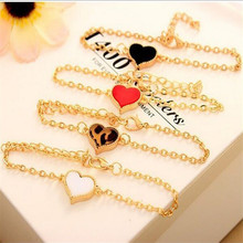 Delicate Hot! Fashion jewelry Cheap Vintage Love Heart Enamel Charm Bracelet for Women