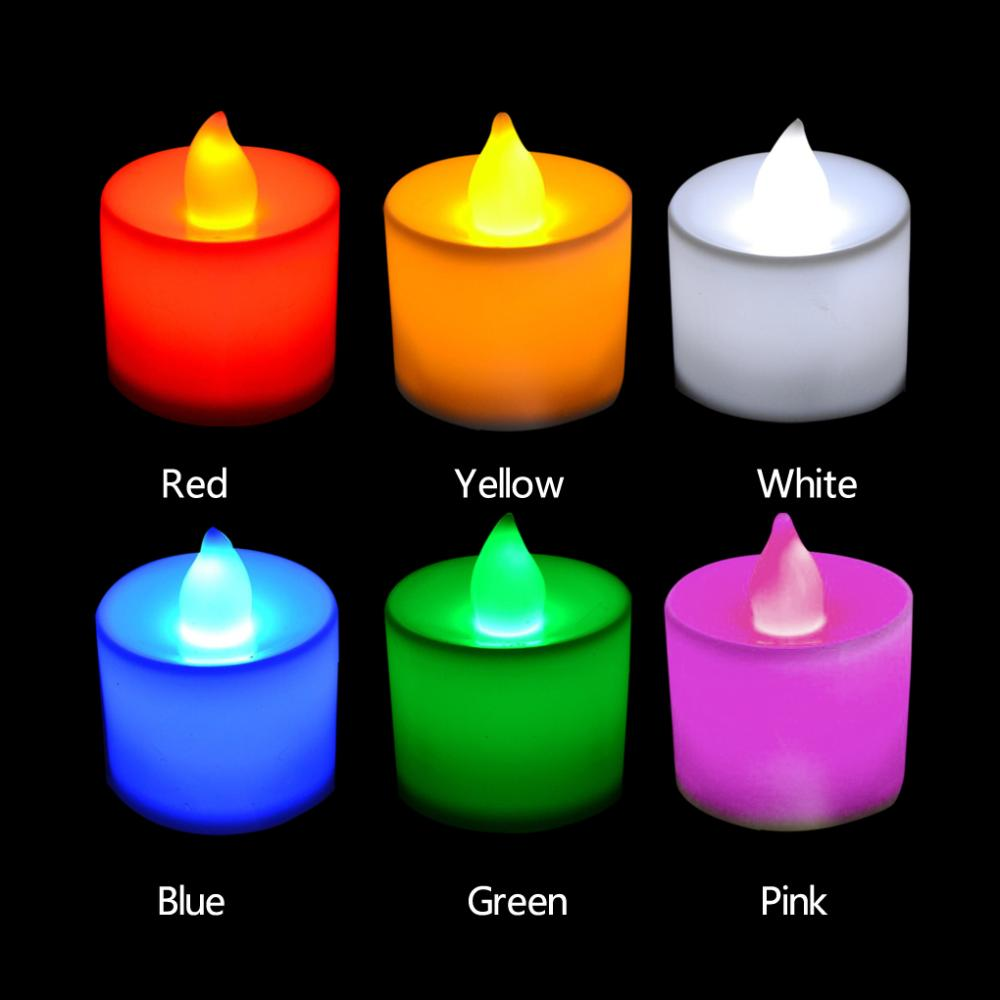 Polypropylene Plastic 6 Colors Candle Shape LED Fliker Flameless Candle Light For Wedding Party Holiday Decoration(China (Mainland))