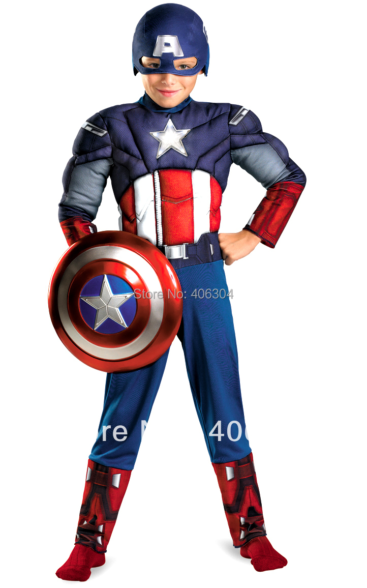 , children Captain America muscle costume party halloween Avenger hero clothing plastic shield gloves - HH Party Costume Store store