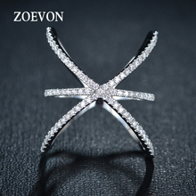 ZOEVON 2015 White Gold Plated Trendy Womens Mid Finger Ring Female Cross Ring X Shape with Micro Paved Cubic Zirconia(China (Mainland))
