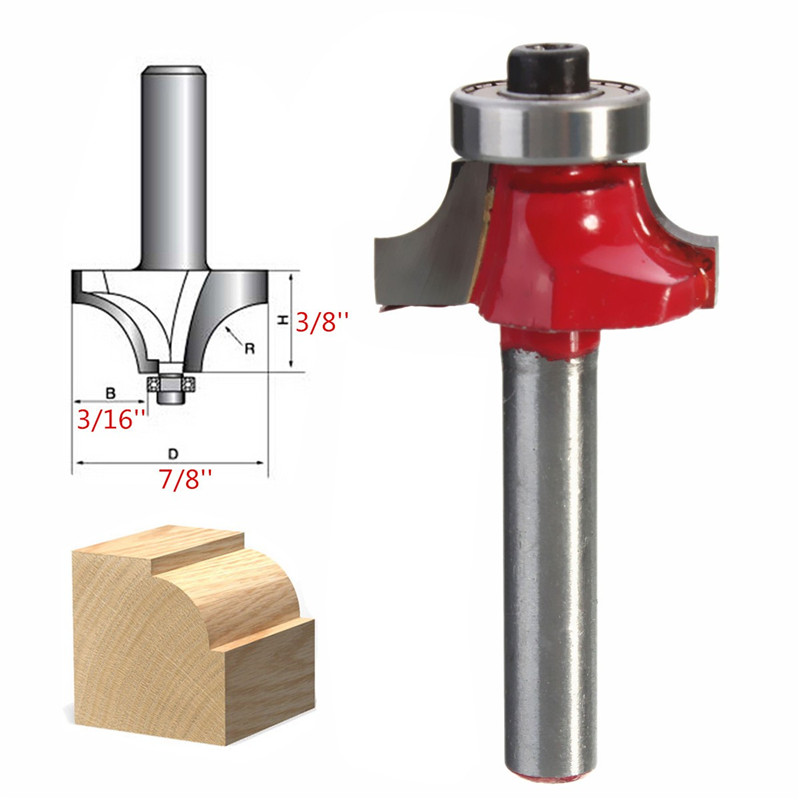 High Quality 1PC 1/4 Inch Shank Drill Bits Beading Edging Router Bit Solid Hardened Steel Wood Cutter Tools 3/8 Inch Radius(China (Mainland))