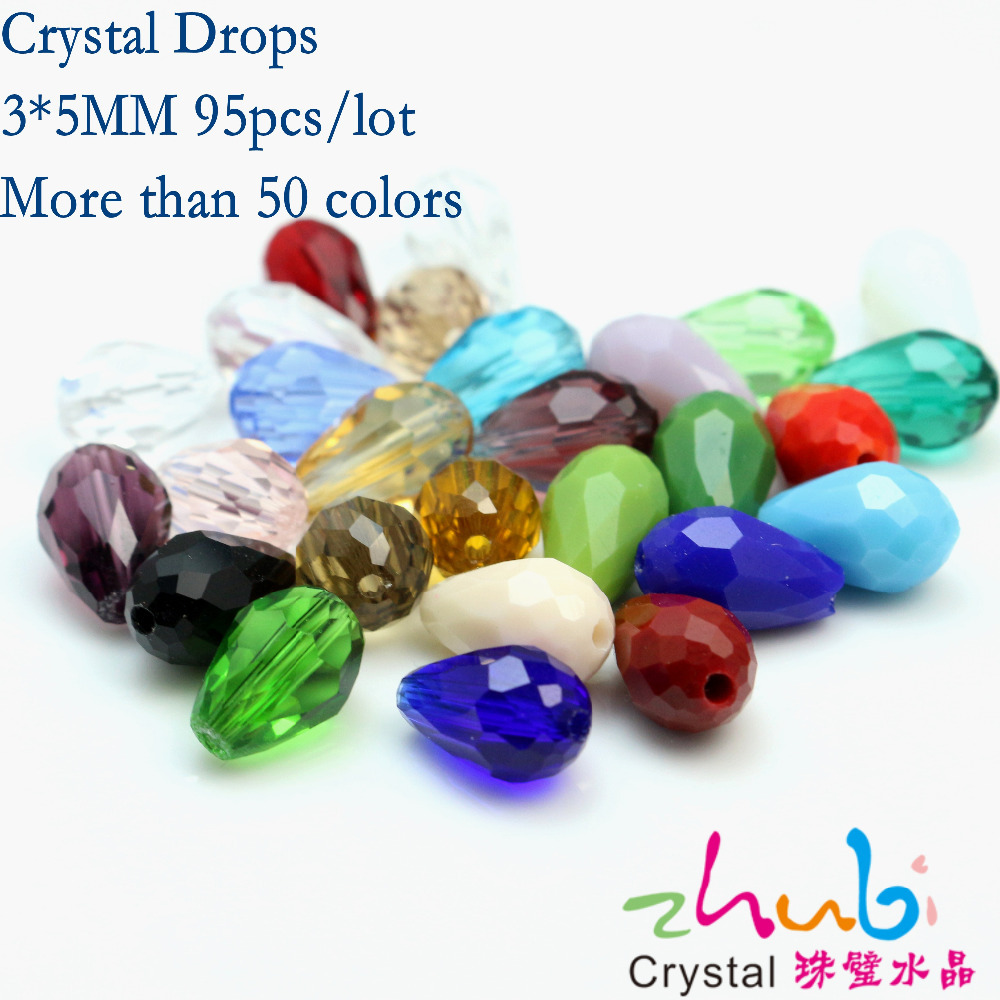 Tear Drop Crystal Beads (95pcs/lot)3*5mm Loose Crystal Glass Bead Spacer Stone Pendant Faceted Crystal Beads Strand For Jewelry(China (Mainland))