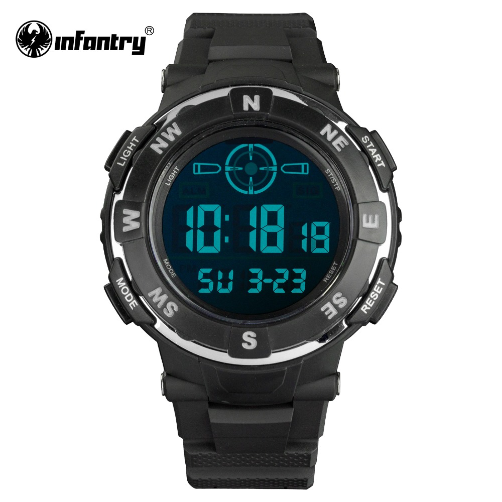 INFANTRY Luxury Brand Mens Sports Watches 3ATM Digital LED Military Watch Men Fashion Casual Electronics Wristwatches Hot Clock(Hong Kong)