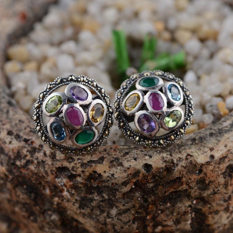 100% real pure 925 sterling silver earrings women jewelry Retro pearl stud earrings best gift free shipping TRS30038<br><br>Aliexpress