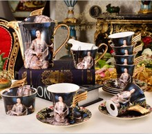 Fashion 15 pieces bone china coffee cup and saucer sets personalized tea sets coffee sets wedding