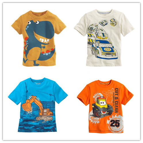 New boys t-shirt Baby Clothing Litle boy Summer t shirts tees Cotton Cartoon truck dinasour cars tops baby kids clothes fashion(China (Mainland))