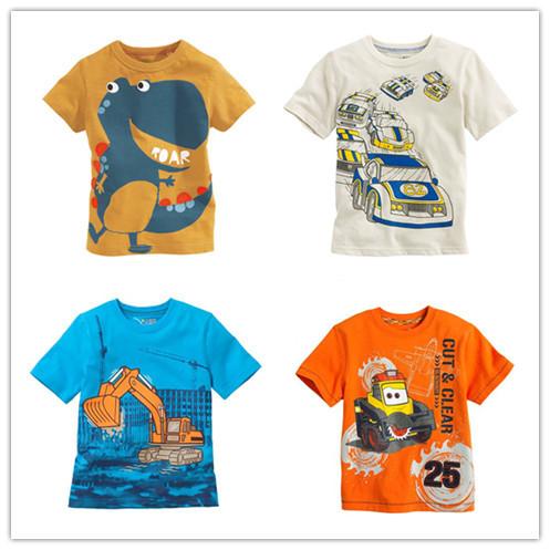 New boys t-shirt Baby Clothing Little boy Summer t shirts tees Cotton Cartoon truck dinosaur cars tops baby kids clothes fashion(China (Mainland))