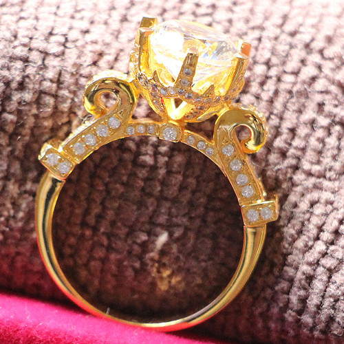 24K Yellow Gold Plate Marriage Ring Custom Jewelry 4Carat SONA Synthetic Diamond Ring Engagement Sterling Silver Propose Jewelry(China (Mainland))