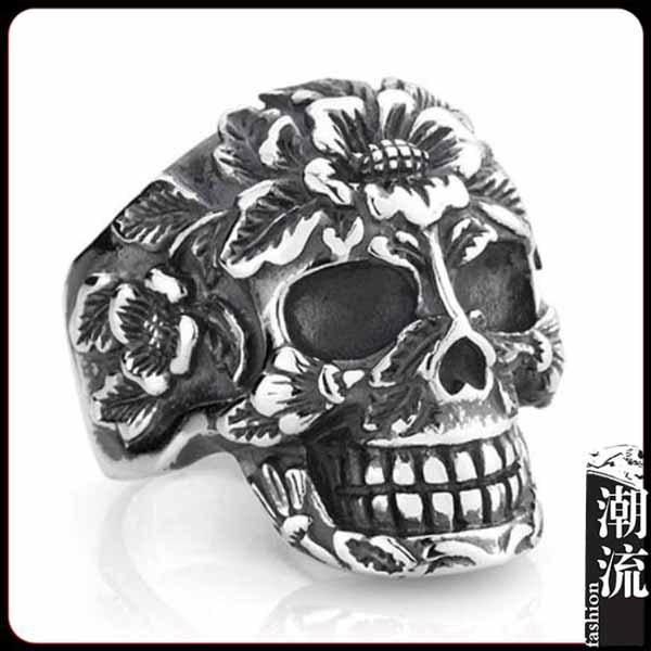 2014 new men skull ring 925 sterling silver fashion jewelry punk flower rings good gift - Liang Hui's shop(Min mix order $15 store)