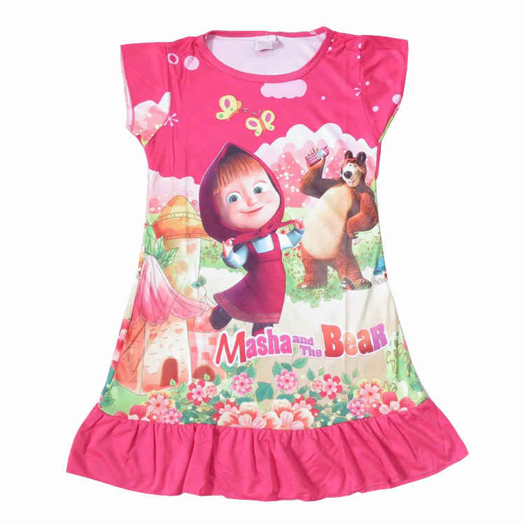 New Masha and Bear Dress for 3-10years Children Sleep Clothes for Girls Nightgowns ropa roupas Pyjama pijama Kleidung(China (Mainland))