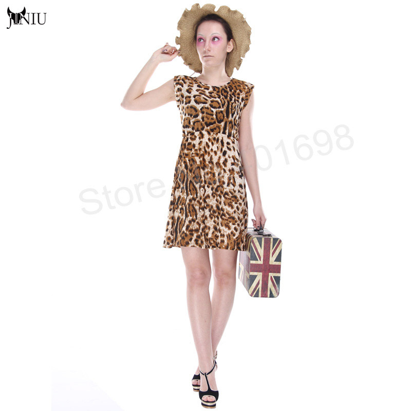 Sexy Women Ruffles leopard dress Print Casual Party Tunic Novelty Skater Swing Mini Dress Sundress Beach dress D1 New arrival(China (Mainland))