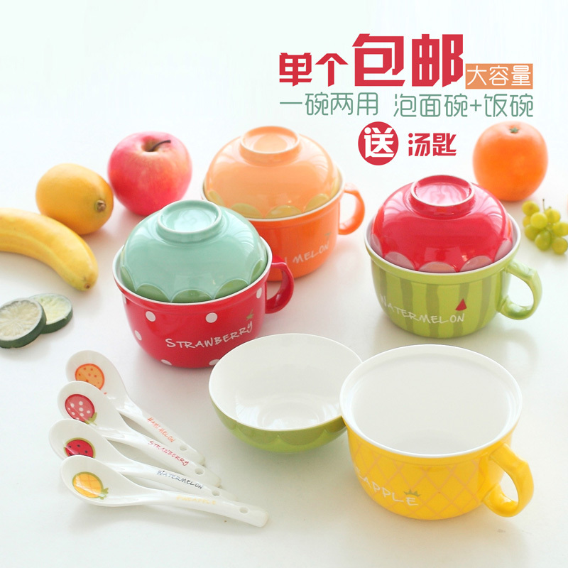 Cover fruit instant noodles bowlmulticolour ceramic bow bowlful spoonfuls belt 62 for 212(China (Mainland))