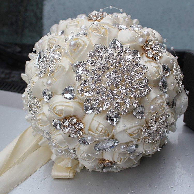 2016 hot best selling price ivory cream brooch bouquet wedding bouquet de mariage polyester. Black Bedroom Furniture Sets. Home Design Ideas