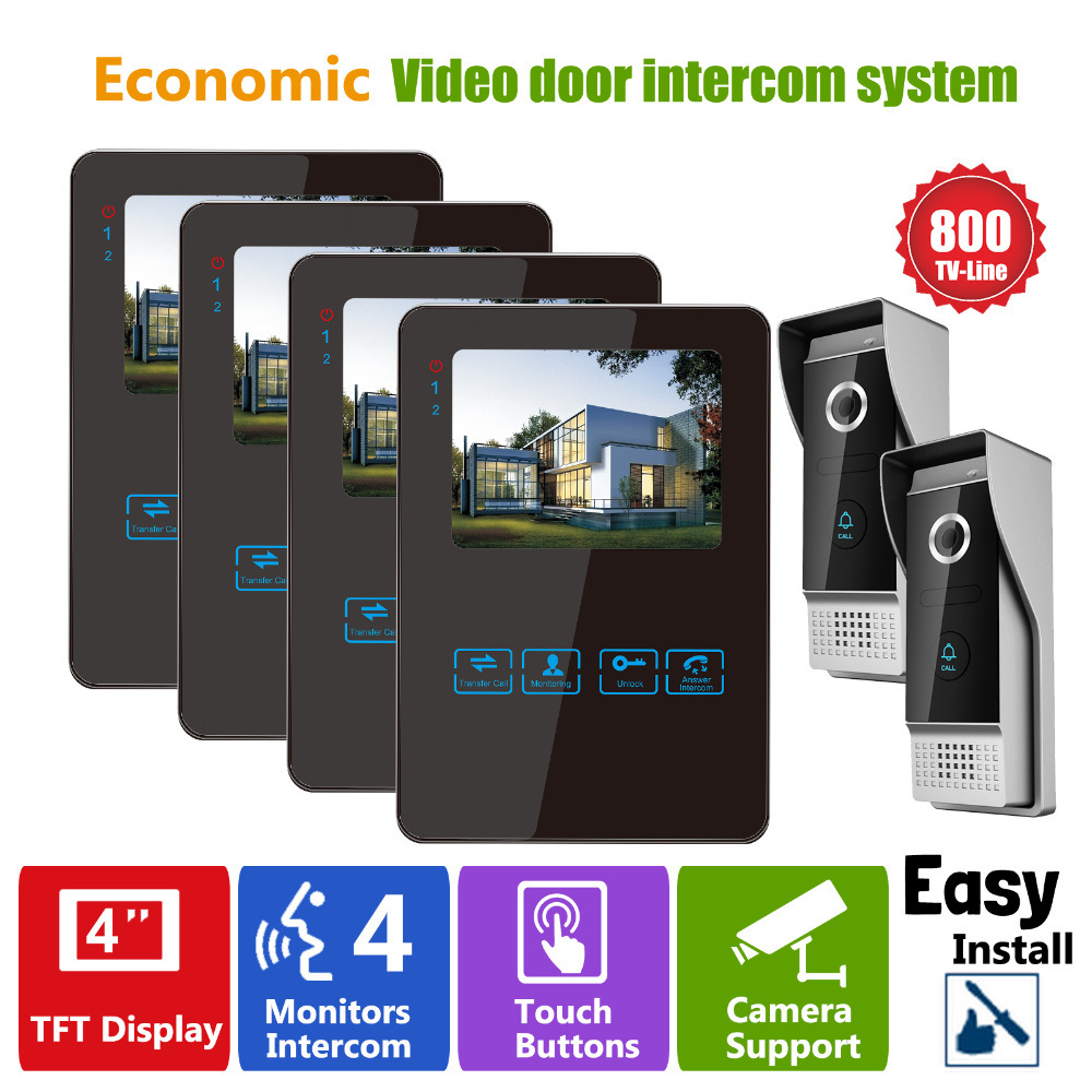 YSECU Video Door Phone Recording Video Entry Phone intercom 4V2 4 Inch LCD Indoor Monitor and 2  Security Doorbell Night Vision <br><br>Aliexpress