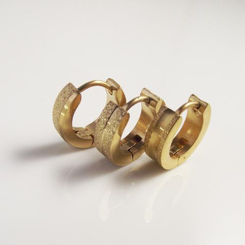1pair 2016 new unisex surgical steel titanium gold polised