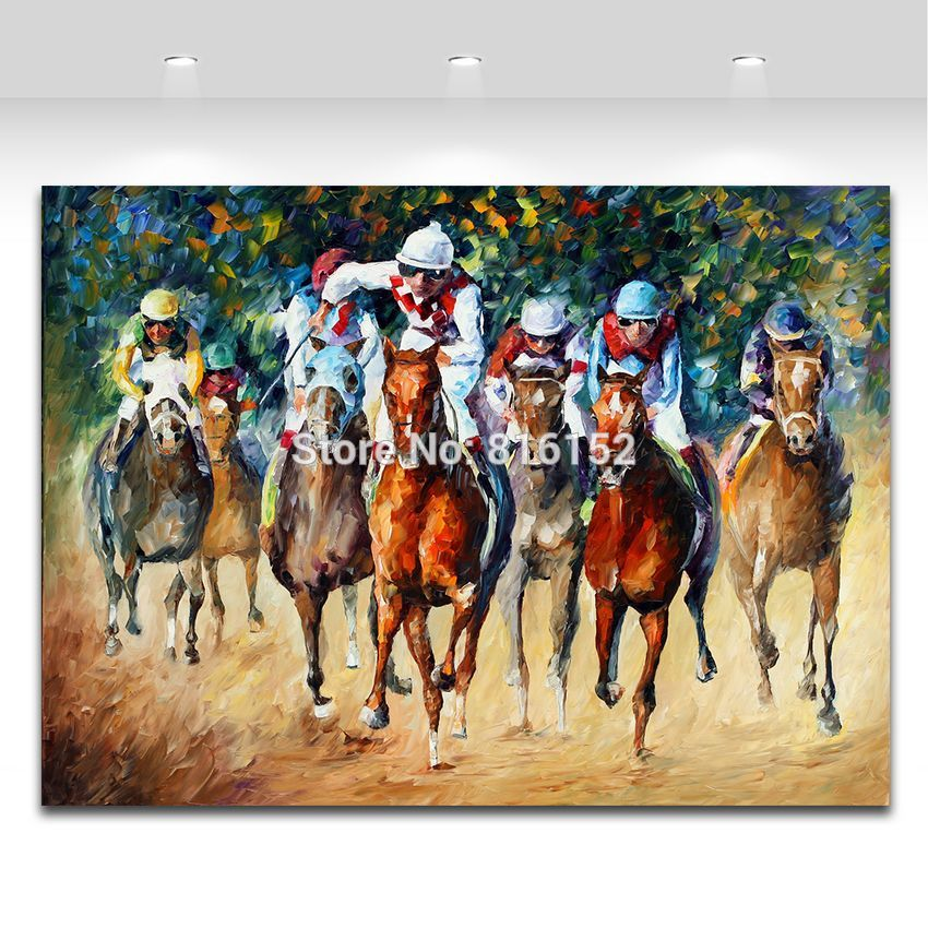 Buy Modern 100% Handpainted Palette Knife Painting Race on The Sand And Snow Canvas Wall Hangings for Home Office Decoration cheap