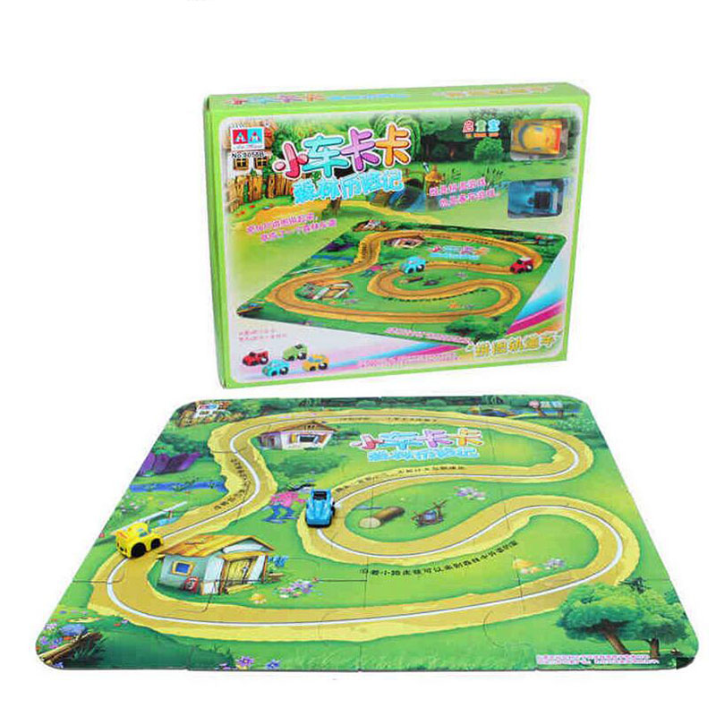 Super Large DIY Puzzle Jigsaw Pattern Forest Wind Up Railcar Learning Education Toys For Children Kids Educational Games(China (Mainland))