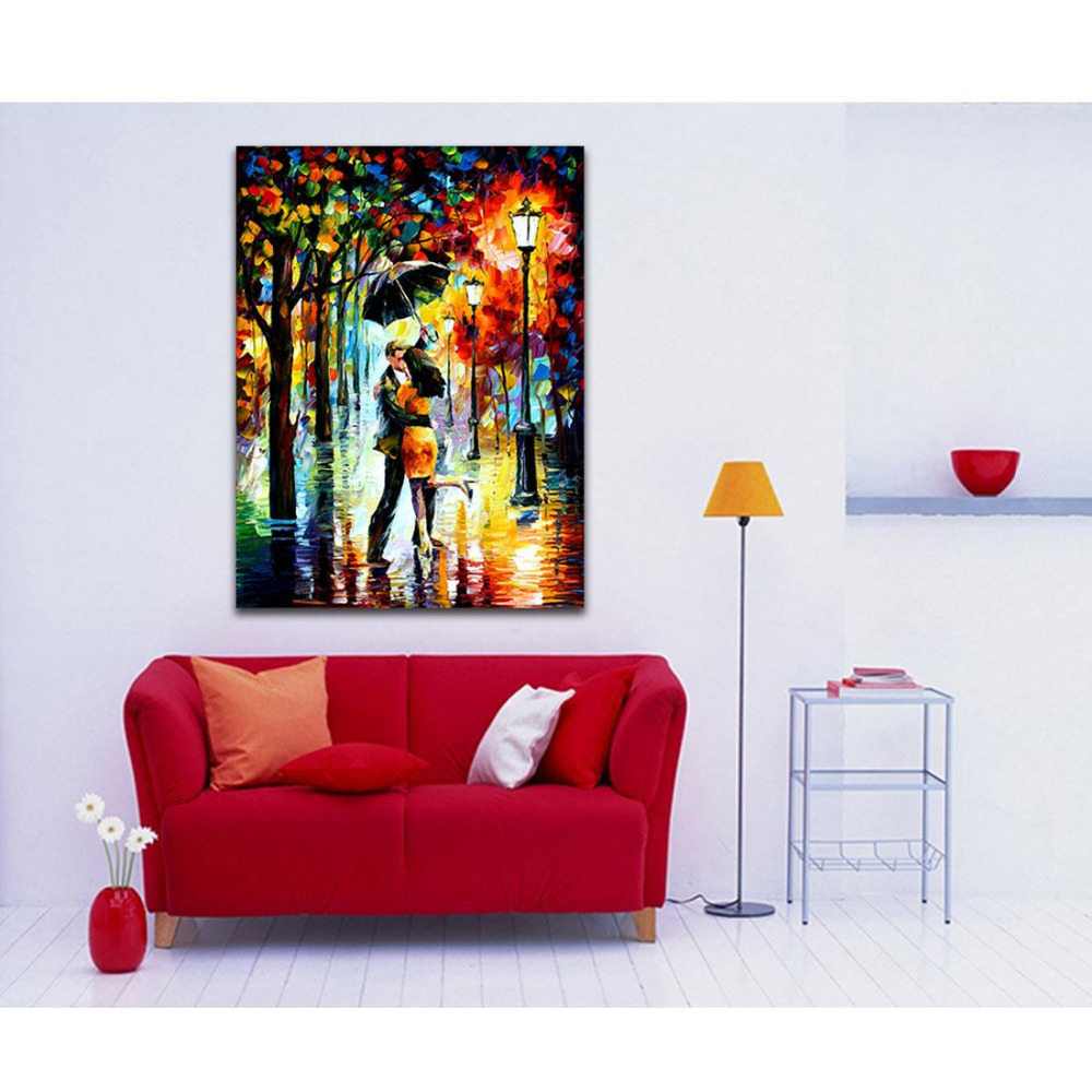 store product Simulation painting inkjet canvas frameless couple dancing in the rain