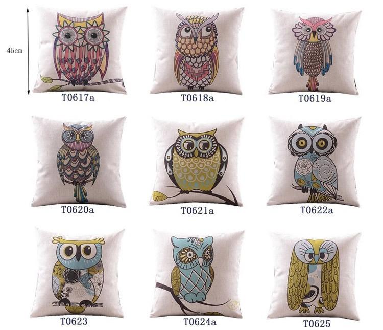 """18 """" praça coruja dos desenhos animados Cotton Linen capa de almofada Ikea sofá decorativa Throw Pillow início Car cadeira fronha almofadas"""