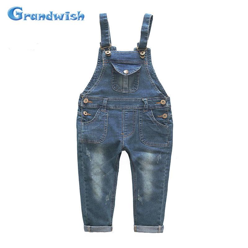 Grandwish New Boys and Girls Denim Jumpsuits Children Overalls Jeans Pants Kids Casual Jeans Pants Washing Pants 3T-10T, SC149