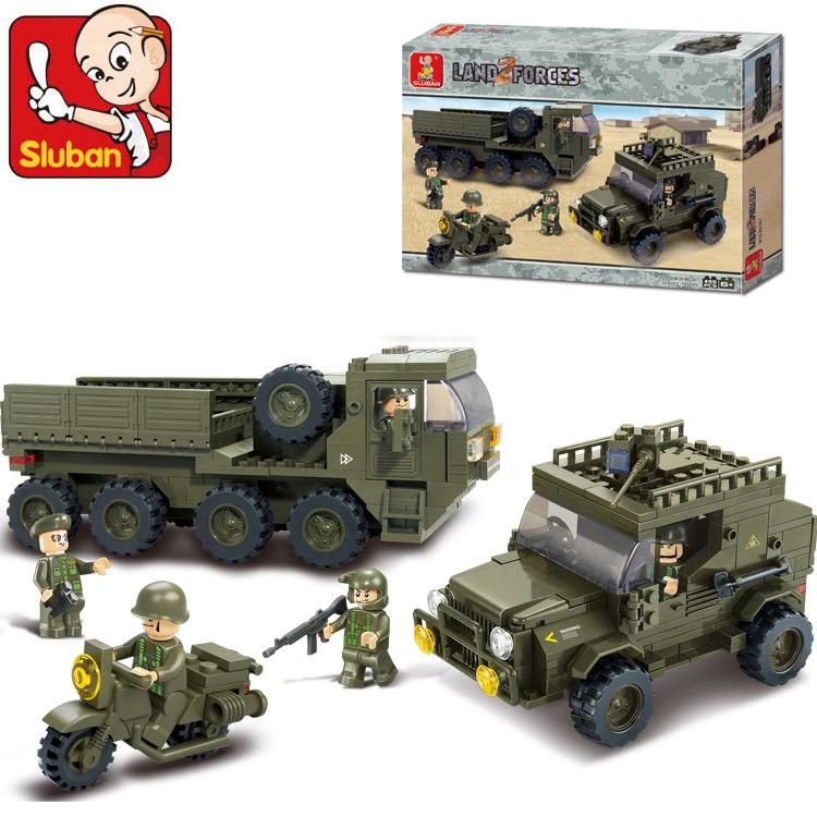 Sluban B0307 Army armored vehicles Jeep Motorcycles 3D Construction Plastic Model Building Blocks Bricks(China (Mainland))