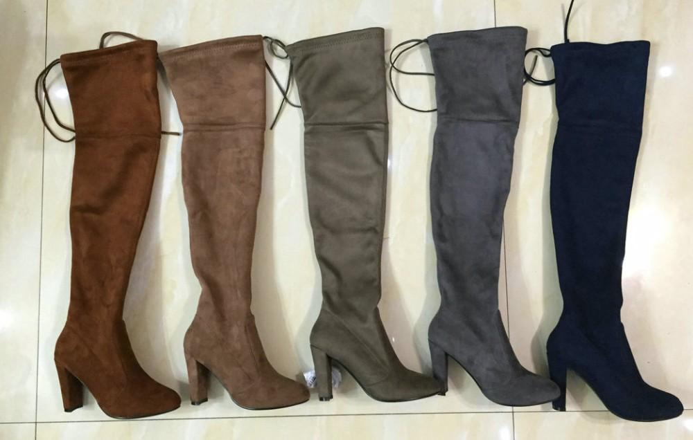 ซื้อ ผู้หญิงF Auxหนังขาสูงกว่าเข่าบู๊ทยืดเซ็กซี่Overkneeรองเท้าส้นสูงรองเท้าผู้หญิงสีดำสีเทาไวน์แดงสีน้ำตาล