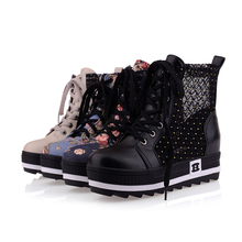 4 Color Big Size 34~43 Fashion women summer Boots Round Toe lace up Ankle boots Platform Height Increasing Sneakers YZ-168(China (Mainland))