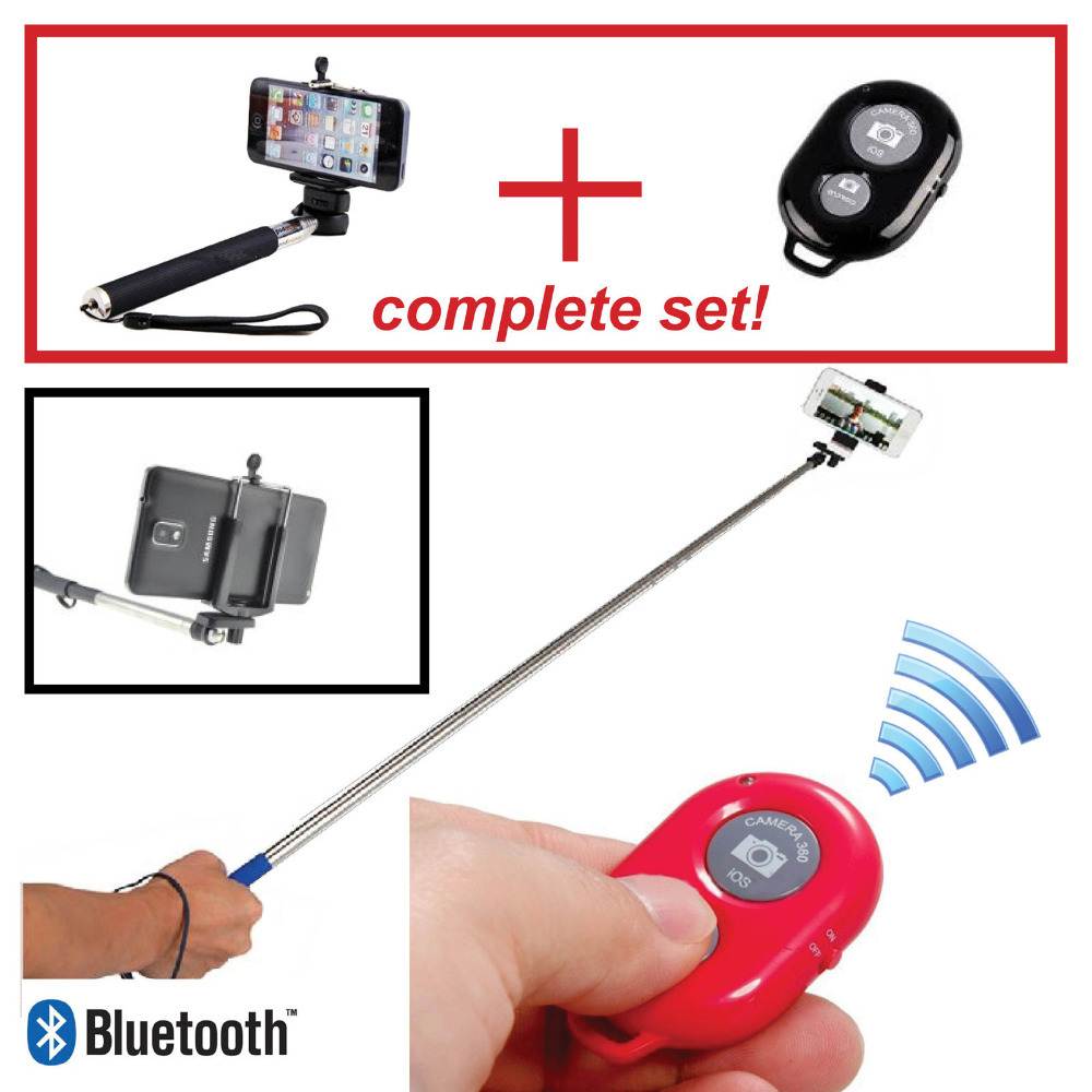 Extendable Handheld Selfie Monopod Stick + Wireless Bluetooth Shutter Remote Control for iPhone Samsung IOS Android Mobile Phone<br><br>Aliexpress