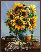 DIY oil Painting Sunflower vase Frameless Coloured drawing pattern By Numbers Handpainted Canvas Painting Home Wall Art Picture(China (Mainland))