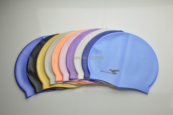 Top Quality Solid Color Swimming Cap Silicone Swim Hats Water-proof Adult 9 Colors Caps Men Women Children Free shipping 1PC