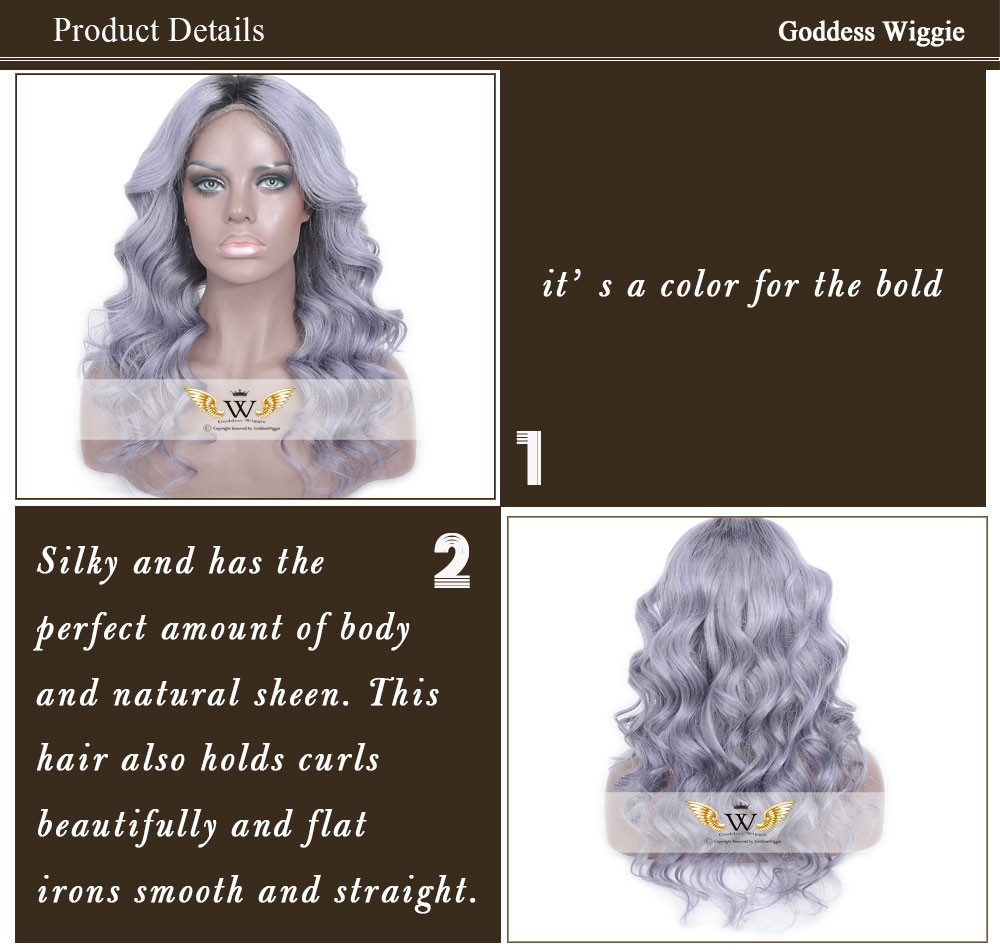 7A Glueless Ombre Gray Full Lace Huamn Hair Lace Wigs Brazilian Body Wavy Human Hair Ombre Gray Lace Front Wigs