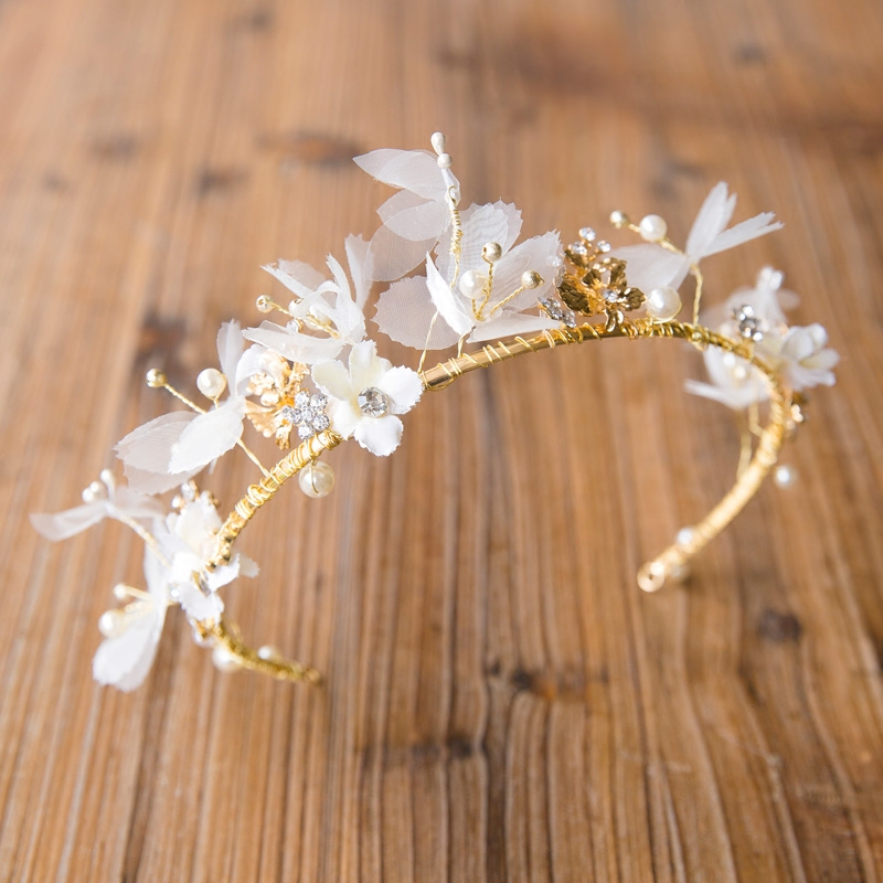 handmade gold crystal headbands white flower pearl headpiece wedding hair accessories bridal party jewelry 677(China (Mainland))