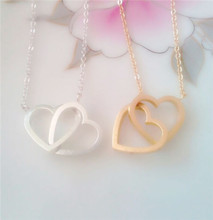 2015 Gold Silver Stainless Steel Jewlery Open Dounble Heart Pendant Necklace for Women Wedding Gift