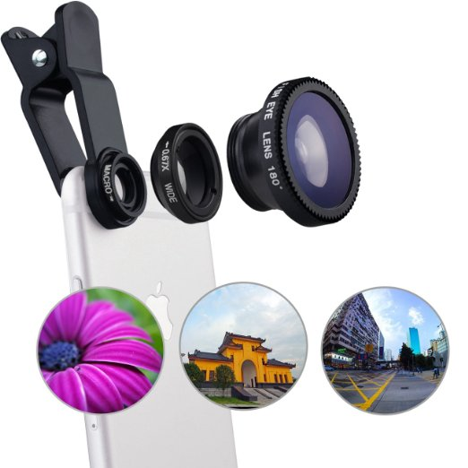 2016 Original 3-in-1 Wide Angle Macro Fisheye Lens Kit with Clip 0.67x Mobile Phone Fish Eye Lens for Mobile Phones Lentes(China (Mainland))