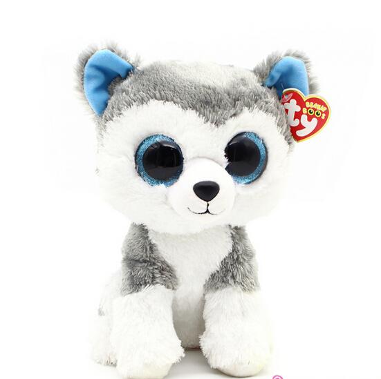 1pc18cm Hot Sale Ty Beanie Boos Big Eyes Husky Dog Plush Toy Doll Stuffed Animal Cute Plush Toy Kids Toy(China (Mainland))
