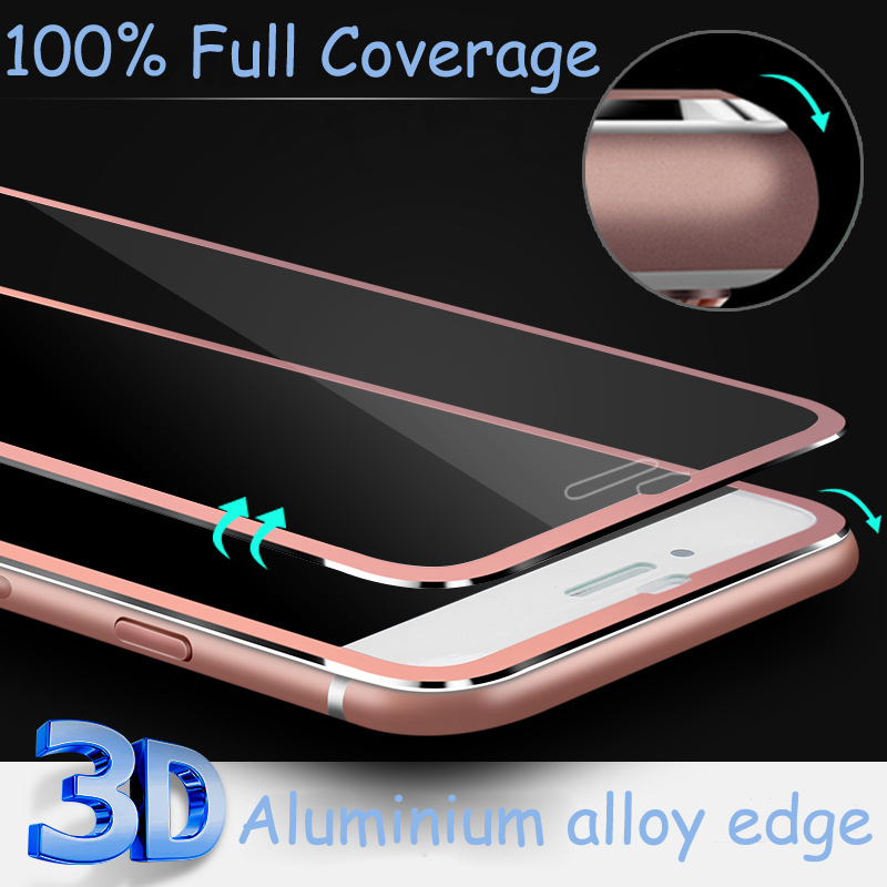 Front Screen Protector for iPhone 6/6s/6Plus/6s Plus Tempered Glass Full Cover 3D Curved Edge Titanium Film Full Coverage(China (Mainland))