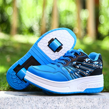 2016 New Fashion Children shoes with wheels boys Yeezy Kids Cool Sneakers With Wheels Girls Spring and Autumn Leather shoes(China (Mainland))