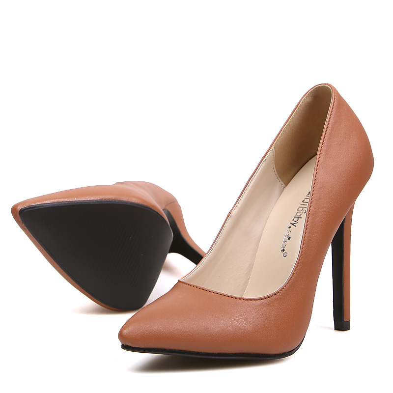 Womens Brown Heels - Qu Heel